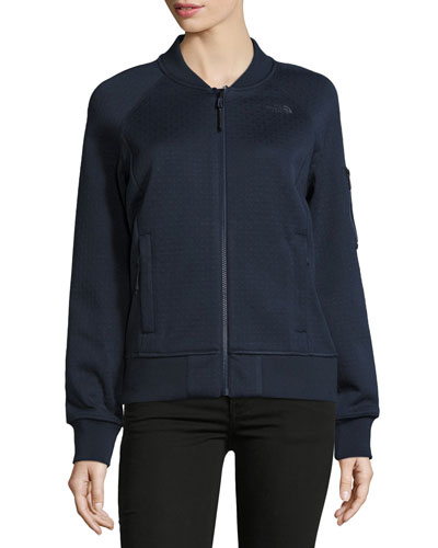 Kelana Embossed Fleece Bomber Jacket, Urban Navy