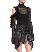 Boa Vista Open-Knit Bodysuit, Black