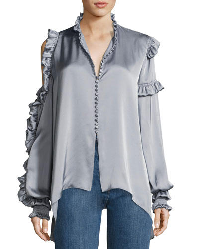Lecce Silk Satin Cold-Shoulder Blouse, Gray