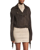 Lincoln Embroidered Suede Biker Jacket with Fringe, Brown