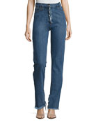 Summersville High-Waist Flare-Cuff Jeans with Frayed Trim, Blue