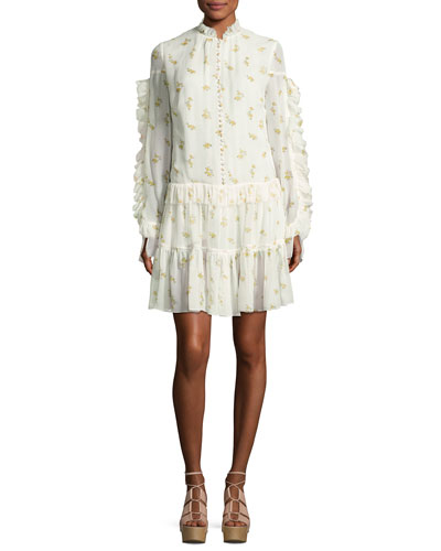 Metz Floral-Print Ruffle-Trim Tiered Dress, Cream
