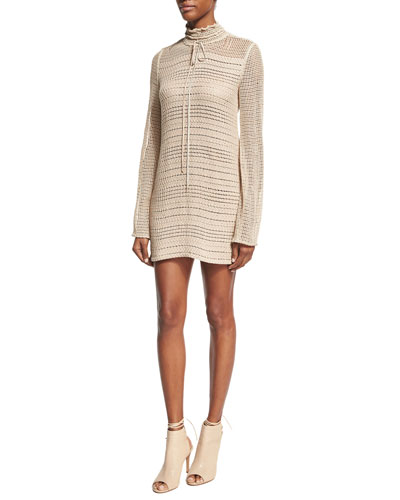 Crocheted Tie-Neck Minidress, Beige