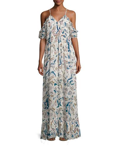 Carl Cold-Shoulder Chiffon Maxi Dress, White