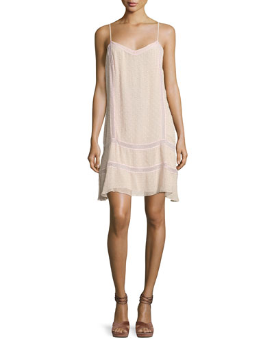 Tia Chiffon Dobby Short Dress, Light Pink