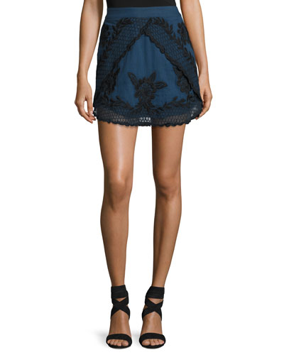 Georgia Embroidered Tulip Skirt, Blue