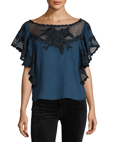 Tika Short-Sleeve Cotton Blouse, Blue