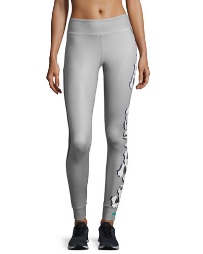 Yoga Floral-Print Leggings, Ice Gray/Granite