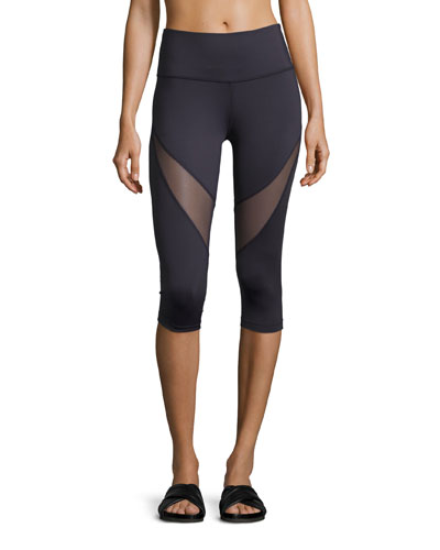 Wharf 3/4 Crop Sport Leggings w/Mesh Inset, Navy