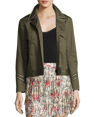 Kalen Cotton Button-Front Jacket, Olive