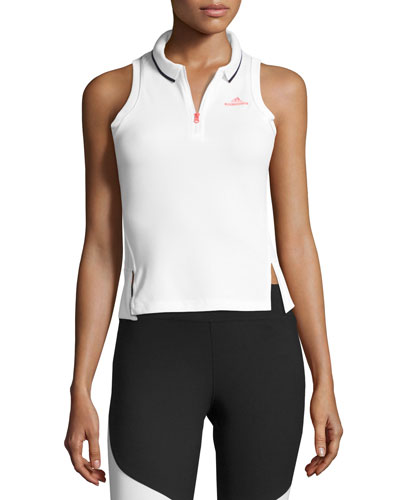 Half-Zip Performance Polo Tank, White