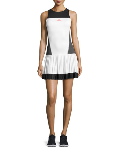 Sleeveless Tennis Dress, White/Solid Gray/Black