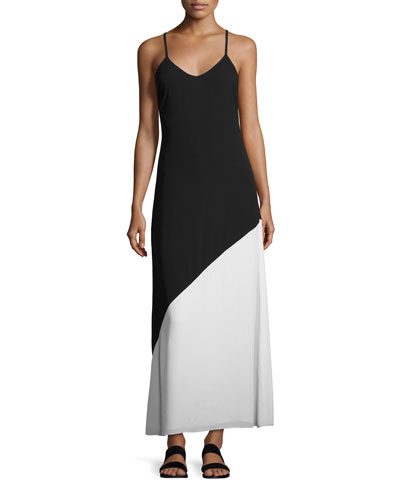 Maggie Paneled Slip Maxi Dress, Black