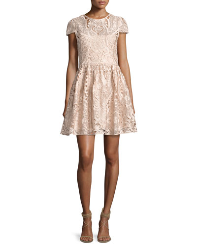 Gracia Cap-Sleeve Lace Cocktail Dress, Light Pink
