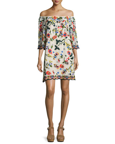 Christiana Embroidered Off-the-Shoulder Dress, Multi