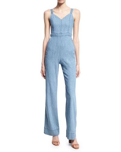 Crystal Wide-Leg Denim Overall Jumpsuit, Light Blue