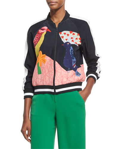 Felisa Embellished Bird-Print Silk Bomber Jacket, Multicolor