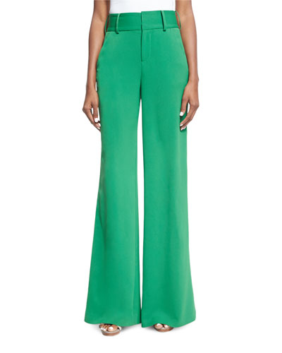 Paulette High-Waist Wide-Leg Pants, Green