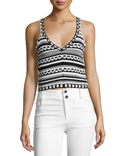 Sandrine Crochet Crop Tank, Black/White
