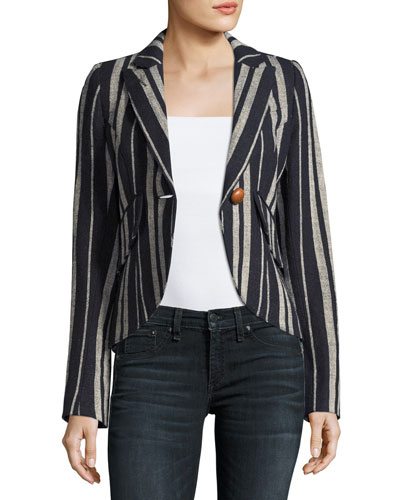 Striped Linen One-Button Blazer, Blue