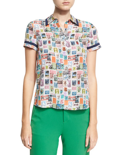 Oswald Short-Sleeve Button-Down Top, Multi