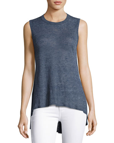 Jamika Sleeveless High-Low Sweater, Blue