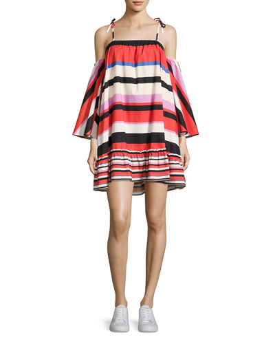 Amalfi Striped Cold-Shoulder Dress, Multipattern