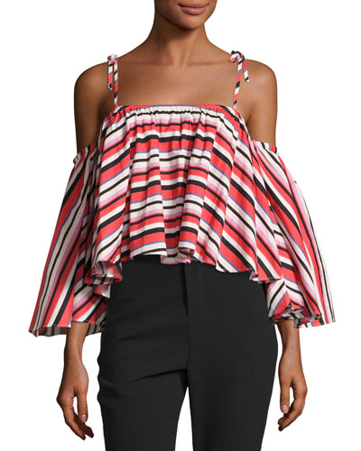 Amalfi Stripe Frill Cold-Shoulder Top, Red/Pink