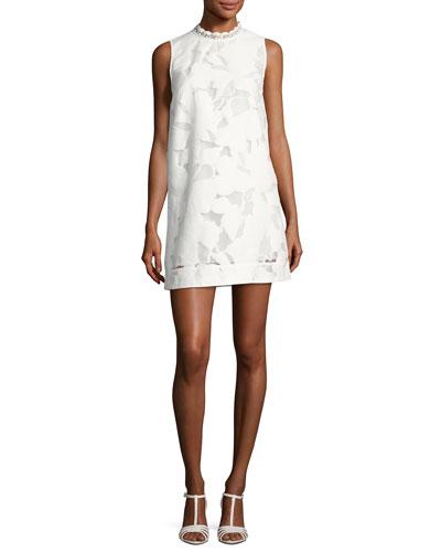 Deka Lace Embroidered Mini Dress, White