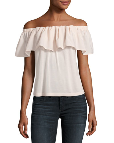 Polly Plains Off-the-Shoulder Blouse, Blush