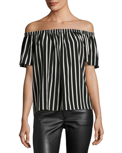 Off-The-Shoulder Striped Crepe Top, Black/White