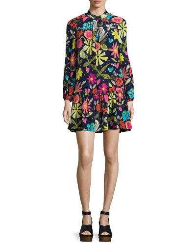 Corozone Long-Sleeve Floral Silk Shift Dress, Blue