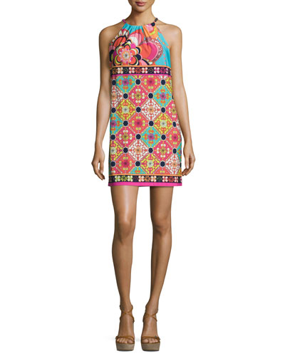 Vacaciones Sleeveless Tile Mini Dress, Multicolor