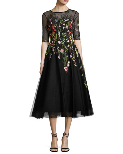Embroidered Tulle Cocktail Dress, Black