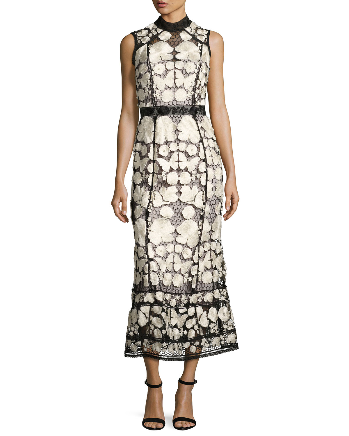 Sleeveless Embroidered Lace Cocktail Dress, Black/White