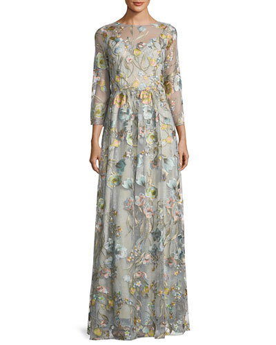 3/4-Sleeve Embroidered Tulle Gown, Blue
