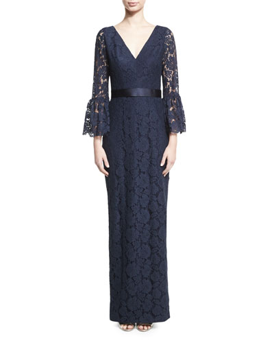 Bell-Sleeve Floral Lace Column Gown, Navy