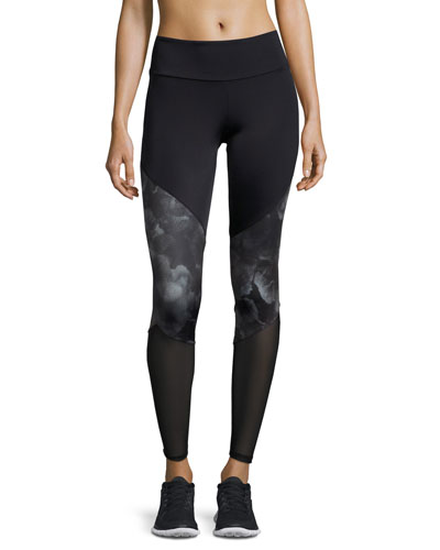 Paneled High-Rise Track Leggings, Multi Pattern