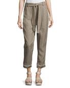 Drawstring Wide-Cuff Utility Pants, Light Brown