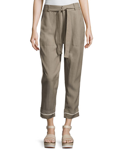 Drawstring Wide-Cuff Utility Pants, Light Brown