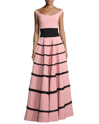 Nicoletta Tiered Fringe Jersey Gown, Pink/Black