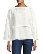 2-in-1 Crochet Top W/ Poplin Underlay, White