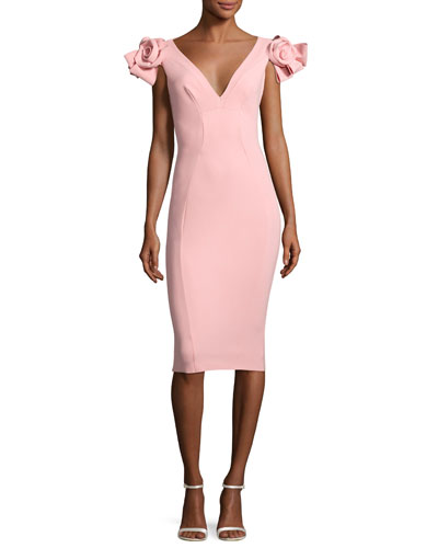 Belvis Rosette Bodycon Cocktail Dress