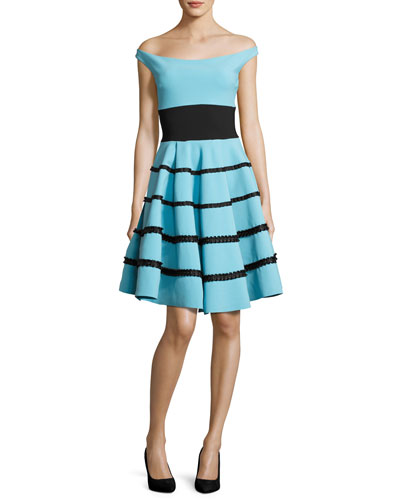Nicoletta Off-the-Shoulder Striped Circle Cocktail Dress, Blue/Black