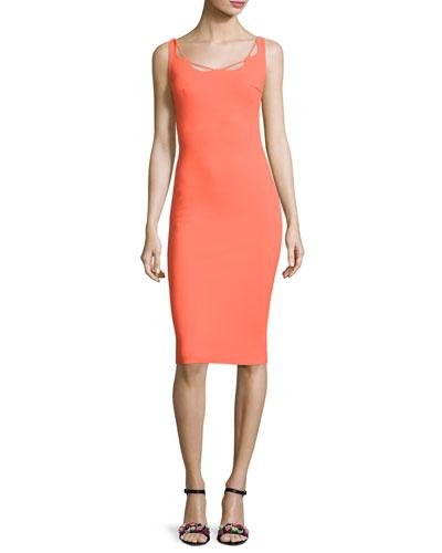 Edwige Sleeveless Jersey Cocktail Dress, Orange