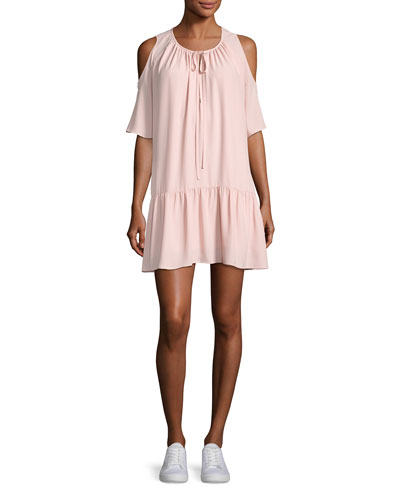 Ora Cold-Shoulder Drop-Waist Dress, Light Pink