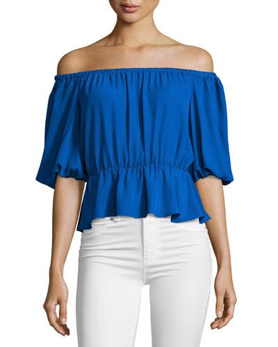 Cora Off-the-Shoulder Top, Royal Blue