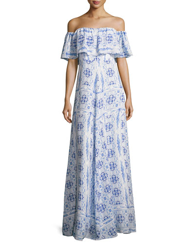 Delilah Off-the-Shoulder Printed Dress, Blue