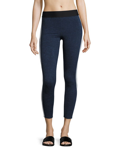 Exerciser Heathered Performance Leggings, Blue/Gray