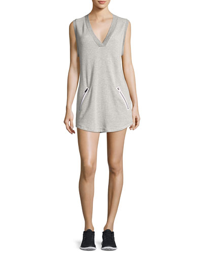 Sweat V-Neck Sleeveless Athletic Dress, Gray